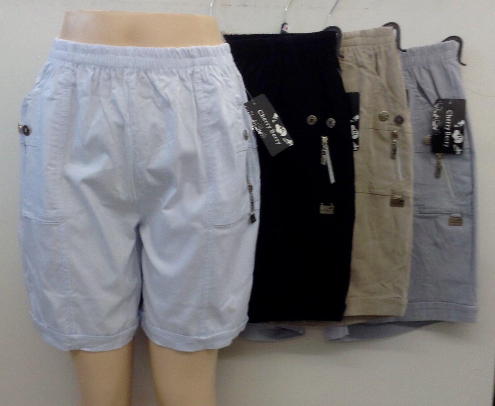 damen sommer stoff schlupf kurze hose shorts stretch caprihose bermuda bequem eur 15 00. Black Bedroom Furniture Sets. Home Design Ideas