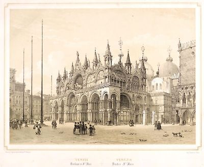 VENEDIG - MARKUSPLATZ MIT DOM - Ph. Benoist - Lithografie um 1850