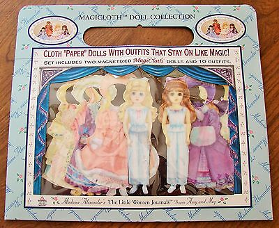 MAGICLOTH MADAME ALEXANDER AMY & MEG MAGNETIC CLOTH DRESS UP DOLLS & 10 OUTFITS