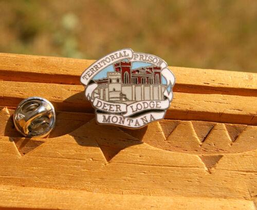 """Territorial Prison Deer Lodge Montana 1"""" Silver Tone Metal & Enamel Pin Pinback"""