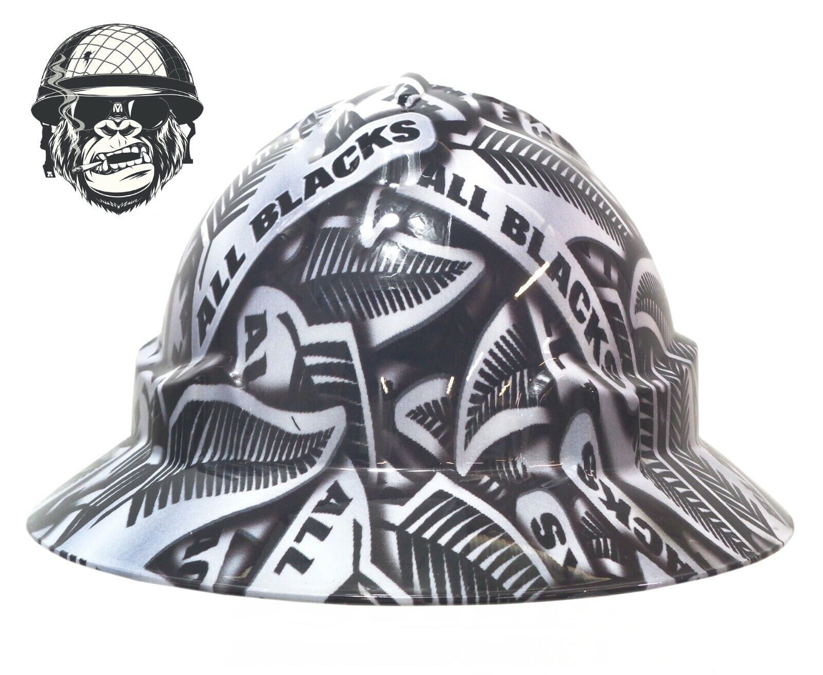 Custom Hydrographic Wide Brim Safety Hard Hat ALL BLACKS WIDE
