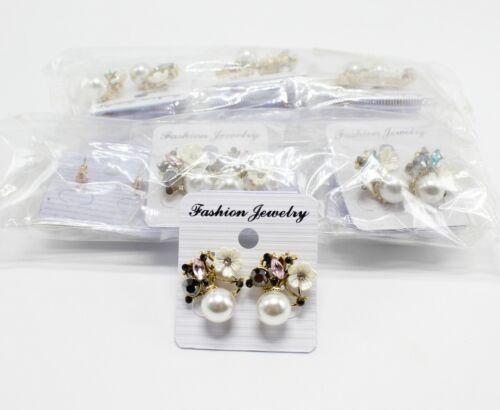 Wholesale Dozen Rhinestone Flower Post Back Earrings #MC35146-12
