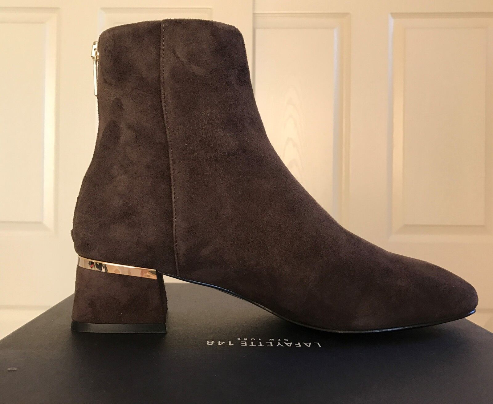 NEW in BOX DESIGNER LAFAYETTE women HADLI BOOTIE Brown Suede zipper boots 8 $498