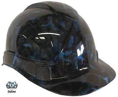 Light Blue Hard Hat (Hydro Dipped Hard Hat High Gloss Light Blue Turbos & Pistons 6 Point)