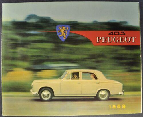 1959 Peugeot 403 Sedan Sales Brochure Folder Excellent Original 59