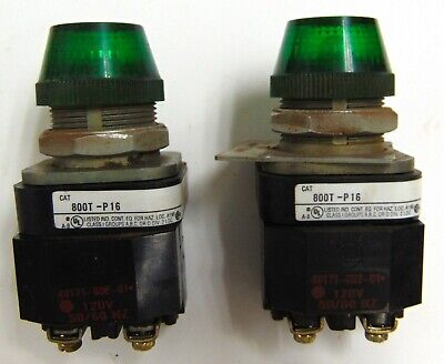 Allen Bradley Pilot Light Green 800t-p16 Series T 120v 5060hz Lot Of 2