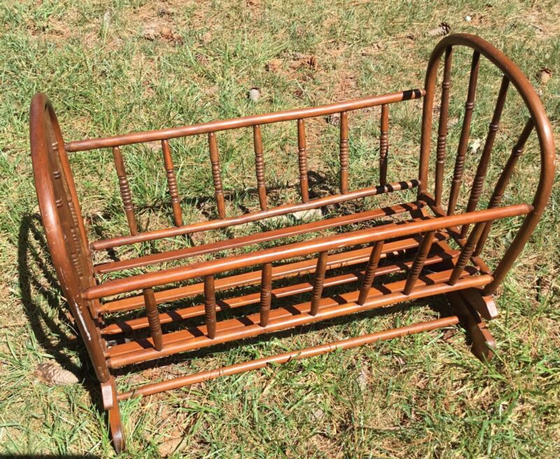 BABY CRADLE ~ Antique Turned Spindle WALNUT BABY CRIB ROCKING CRADLE ~ Richmond