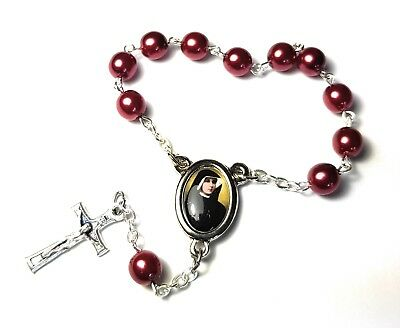 1 decade St Faustina Kowalska burgundy Relic Rosary Apostle Divine -