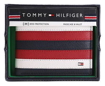 Tommy Hilfiger Men's Leather Wallet Passcase Billfold RFID Navy Red 31TL220104 (Passcase Billfold Wallet)