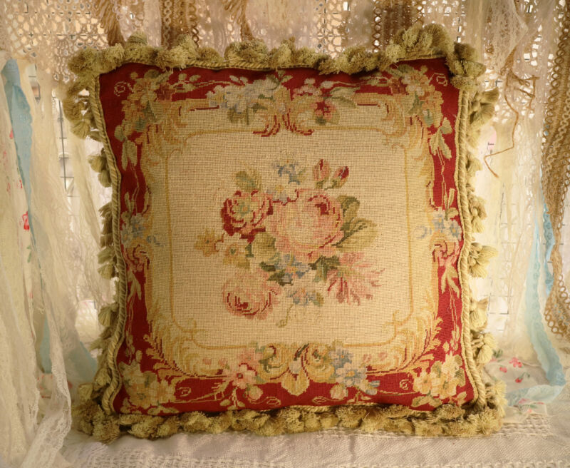 """16"""" Beautiful Victorian Rose Floral Bouquet French Needlepoint Pillow Hand Woven"""