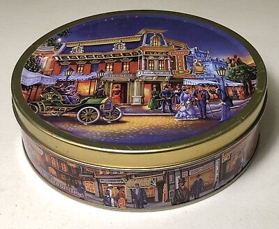 Dukesen Cafe Butter Cookies Classic Car Old Town Scene Collectible Metal Tin