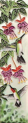 2X8.5 Hummingbirds Garden - Ceramic Art Tile - by En Vogue - Art on Tiles