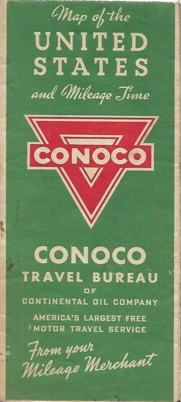Vintage 1939 CONOCO Gasoline Road Map UNITED STATES Route 66 Highway Mileage