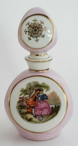 I.W. Rice Perfume Bottle Three Sided Porcelain Handpainted Made In Japan Vintage