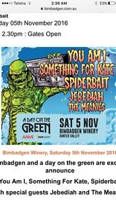 Day on the Green Bimbadgen UMI, Spiderbait , Something for Kate Blackalls Park Lake Macquarie Area Preview