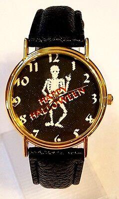 Skeleton Dancing Happy Halloween Face Faux Black Leather Watch Gold Case - Halloween Watch