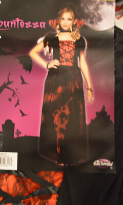 Vampire Girl Outfits (Girl's Halloween Countessa Vampire 2 Pc Costume Outfit Sizes M(8-10),)