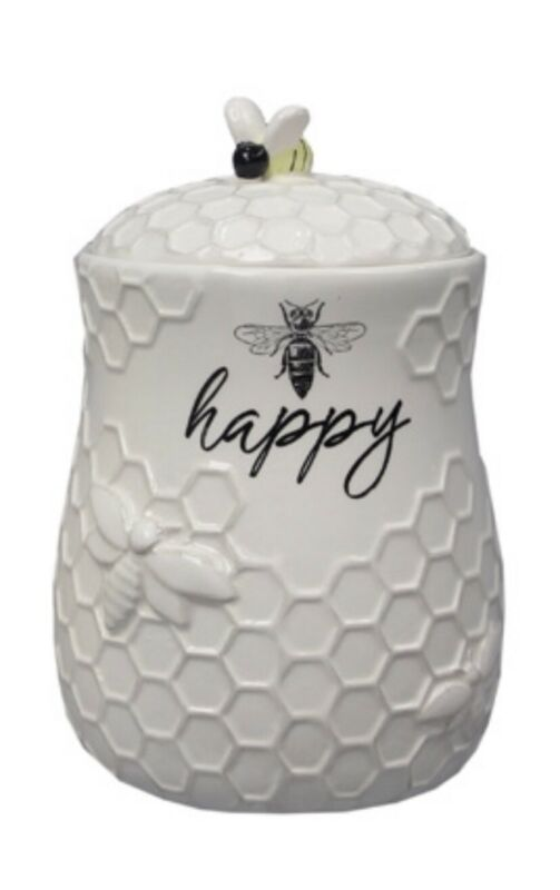 Young's Ceramic Bee Treat Jar With Bumblebee Farmhouse Cottage