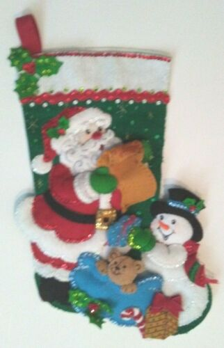 """Awesome Completely Handmade Finished 18-In """"Santa's List"""" Christmas Stocking Buc"""