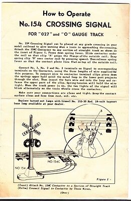 """[54806] 1950 LIONEL TRAINS No. 154 CROSSING SIGNAL INSTRUCTIONS FOR """"027"""" & """"O""""  for sale  Shipping to Canada"""