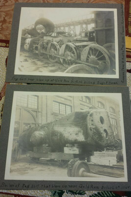 SOUTHERN PACIFIC photo LOCOMOTIVE  RP 6x8 1906 GOLD RUN ENG# 2617 WRECK death
