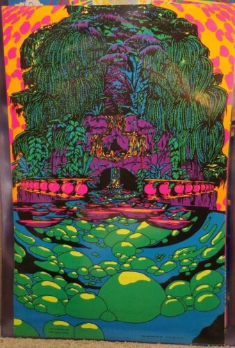 IN ANOTHER LAND 1970 VINTAGE BLACKLIGHT POSTER THE THIRD EYE By Micheal Rhodes