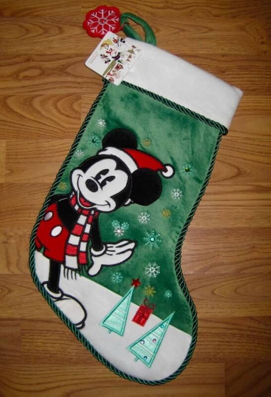 DISNEY MICKEY MOUSE GREEN VELOUR CHRISTMAS STOCKING~RHINESTONE BLING~NWT