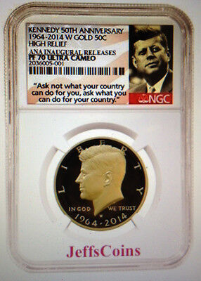 Click now to see the BUY IT NOW Price! 2014 W GOLD KENNEDY HALF 50 ANNIVERSARY NGC PROOF 70 CHICAGO ANA RELEASEBOX