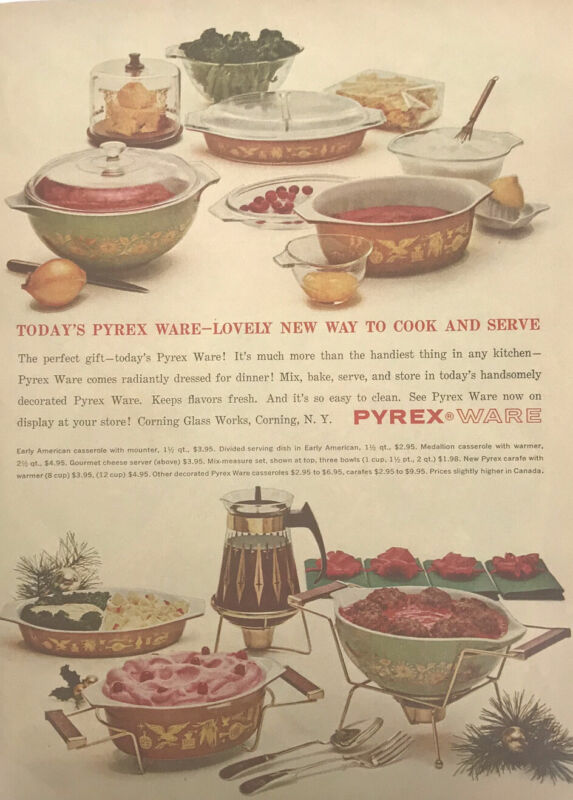 Pyrex Ware Magazine Print Ad Vintage Cooking Baking Kitchen Household Home 1962