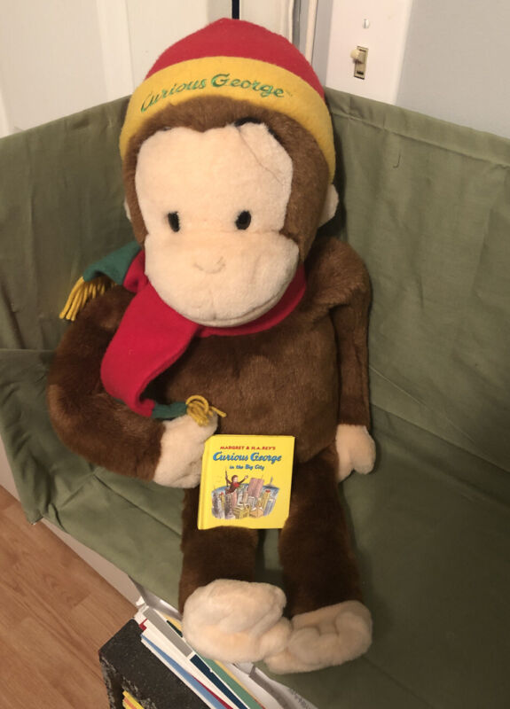 Curious George Monkey with Hat Scarf & Book Macy