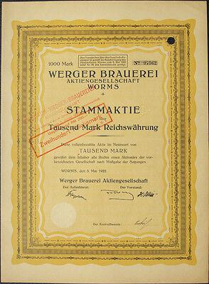Worms Werger Brauerei Aktie 1000 Mark 1922 Rhein Brauereiaktien