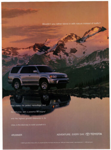 2000 TOYOTA 4Runner Vintage Original Print AD Silver 4x4 photo mountain reflect