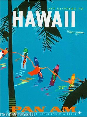 Jet Clippers Hawaii  to Hawaii Pan Am United States Vintage Travel Poster