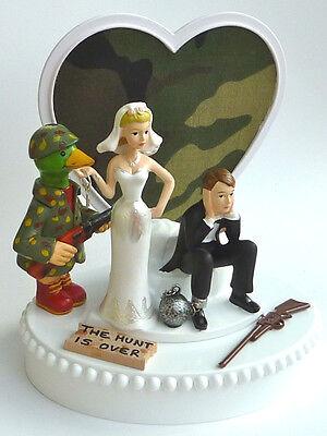 Wedding Cake Topper Duck Hunter Hunting Themed Camo Ball and Chain Bride Groom - Camo Wedding Theme