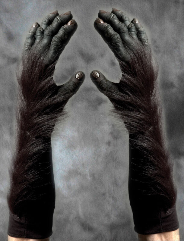 Gorilla Great Ape Hands Scary Monkey Adult Latex Fur Halloween Costume Gloves