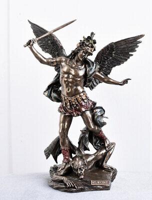 Erzengel St. Michael & Satan sakrale Skulptur Engel Figur Kirchenfigur Antik
