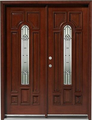 SALE!!Solid Wood Mahogany Front Unit Pre-hung &Finished DMH7525-5 GL02