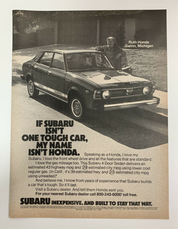 1979 Subaru Sedan Print Ad Name Isn't Honda Inexpensive Built To Stay That Way