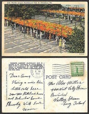 1941 Florida Postcard - St. Petersburg - World's Largest Shuffleboard Club
