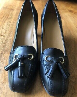 - Car Shoe Women's Tassel Loafer Pumps Size EU 38 US 8 Black Leather Made In Italy