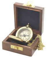 Brújula Con Tapa - Latón - En El Reloj De Bolsillo Formato Collar Y Caja Madera -  - ebay.es