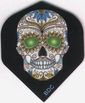 Green Eyed Candy Skull Dart Flights  3 Per Set