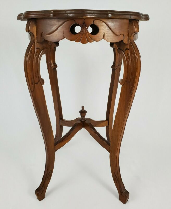 Vintage Louis XV French Accent Side Table Carved Mahogany Inlaid Marquetry