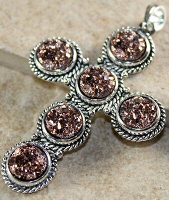 Silver Elegant Copper Rainbow Titanium Druzy Cross PENDANT Jewelry WP10405](Rainbow Cross)