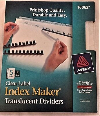 Lot Of 10 Sets 5 Setsbox Avery 16062 Clear 5 Tab Index Maker Dividers -2 Bxs