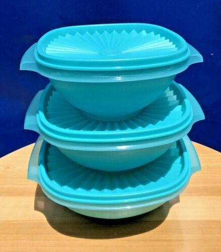 Tupperware Classic Servalier Bowls Set of 3 Small Medium Large in Aqua NEW