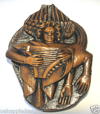 Mermaid Siren Harp Medieval Cathedral Carving Mythical sea Creature Psaltery oak