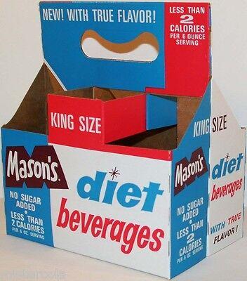 Vintage soda pop bottle carton MASONS DIET BEVERAGES unused new old stock n-mint
