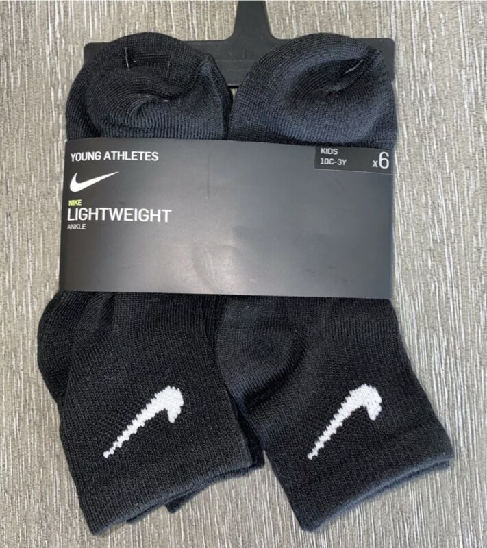 Nike Young Athletes Lightweight Black 6pr Ankle Socks Size Toddler 10C-3Y NWT
