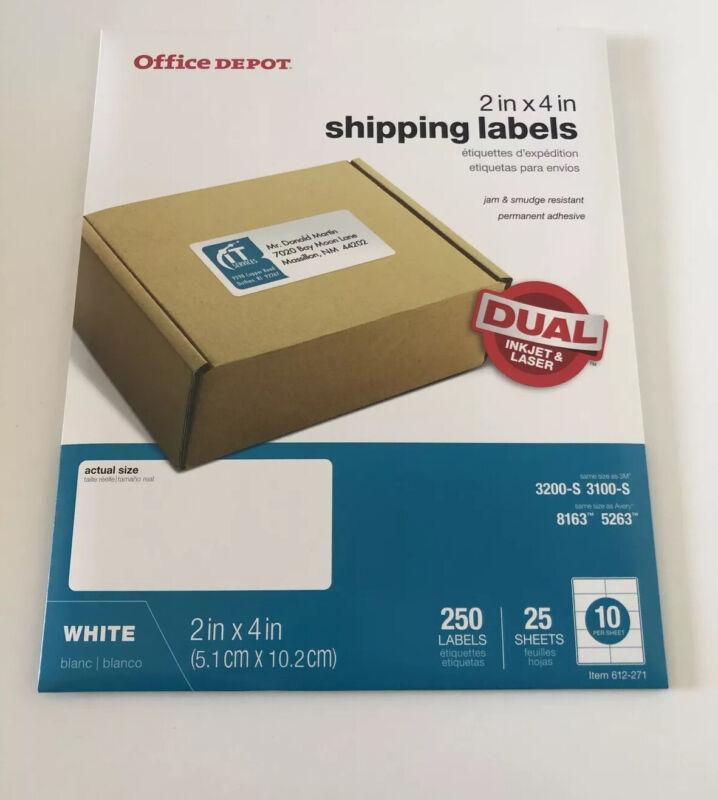 "Office Depot Inkjet/Laser Shipping Labels, 2"" x 4"", White, 250-Pack"